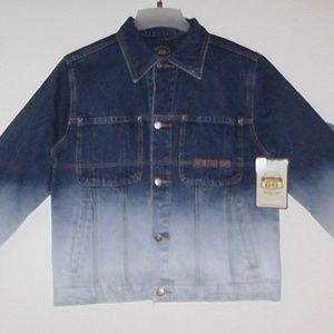 Vintage Denim Orange Accents Cotton Umbre Jacket